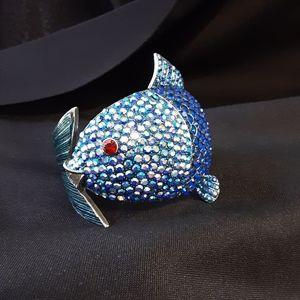 Bracelet Large Fish Blue Rhinestones Gorgeous